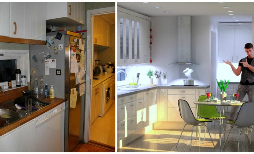 Bilde viser før og etter at komfyren ble flyttet