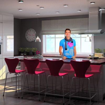 Bilde av barstol tilpasset stil på kjøkkenet
