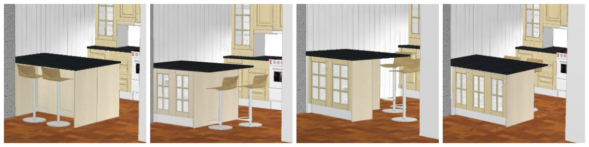 En kjøkkenøy kan lages i ulike varianter