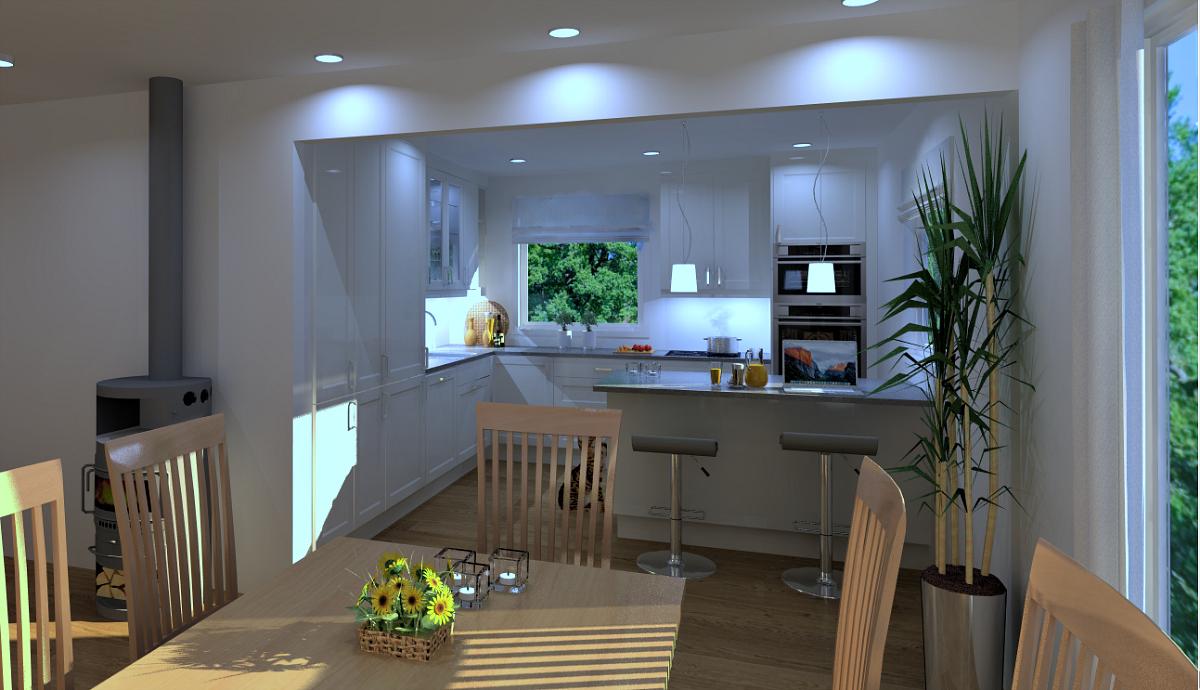 Inntegnet forslag fjerning veggen mellom stue og kjøkken