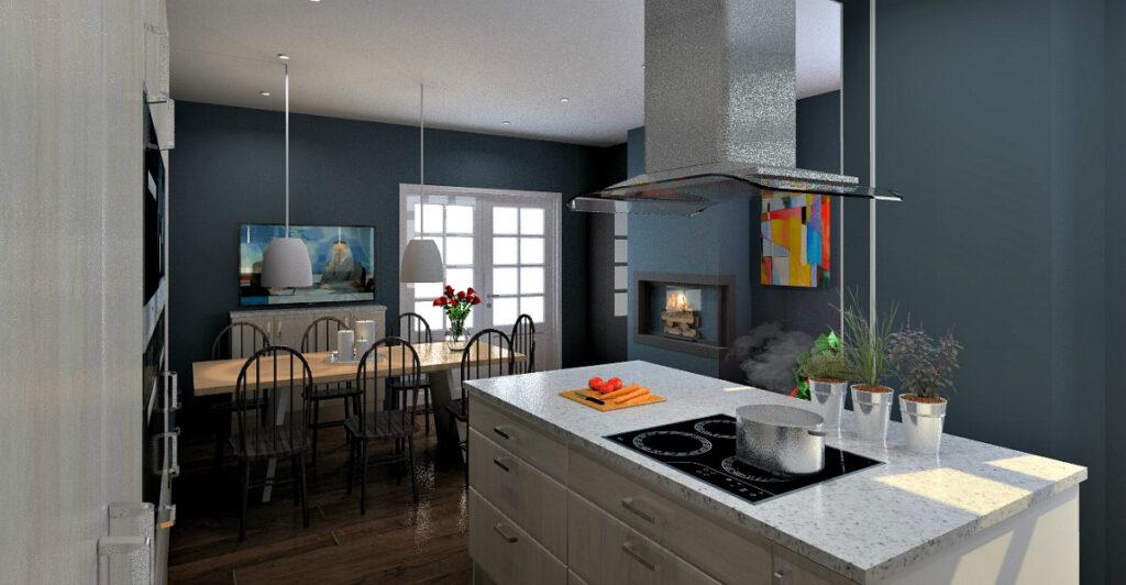 Forslag ny planløsning etter veggendring sett fra kjøkkenet