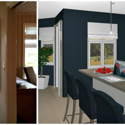 Kjøkkenet før og etter veggen fjernes