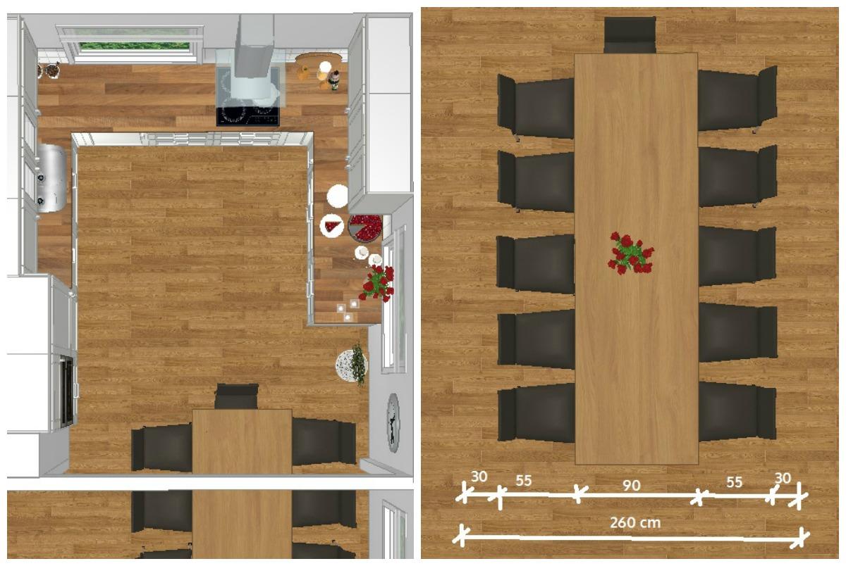 Spisebordet plassert viser at det tar for stor plass