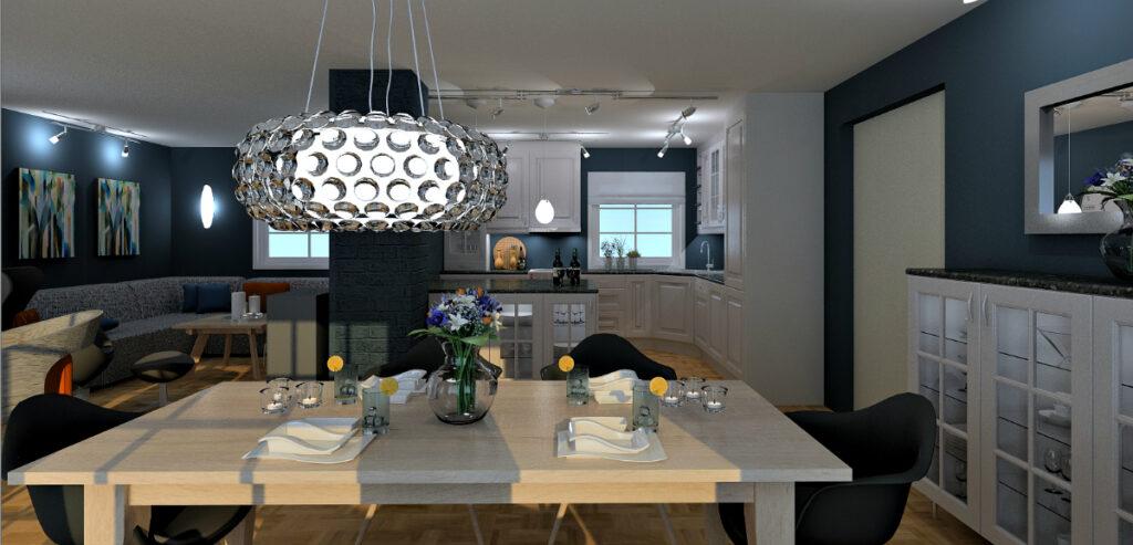 Rive vegg mellom stue og kjøkken ga lysere rom