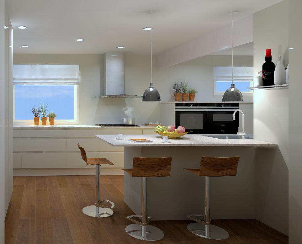 Det nye kjøkkenet etter at veggen er åpnet opp