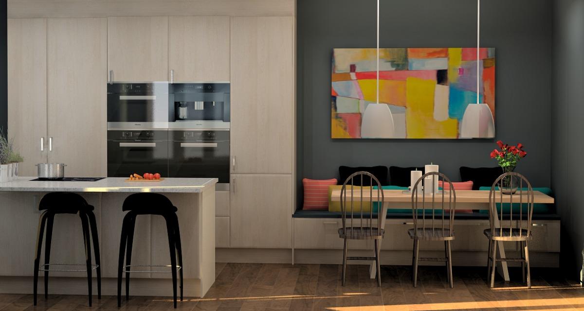 Sittebenk er praktisk som en forlengelse mellom kjøkken og stue