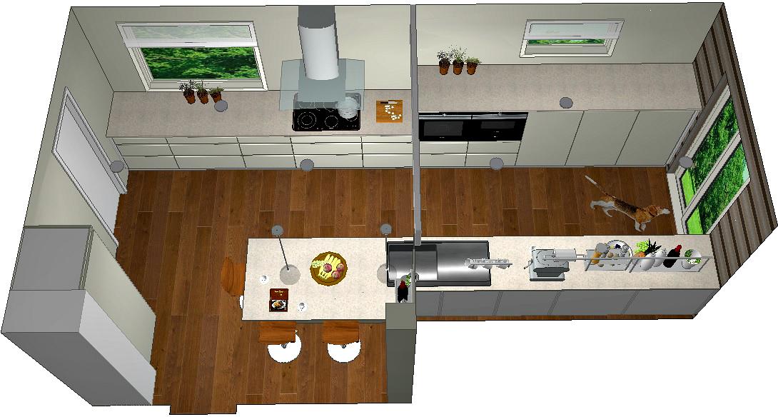 Fugleperspektiv av forslag kjøkken hvor veggen mellom kjøkken og kontor er revet
