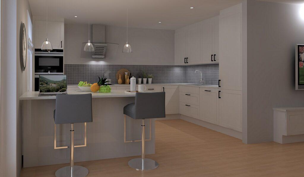 Planløsning med praktisk kjøkkenøy