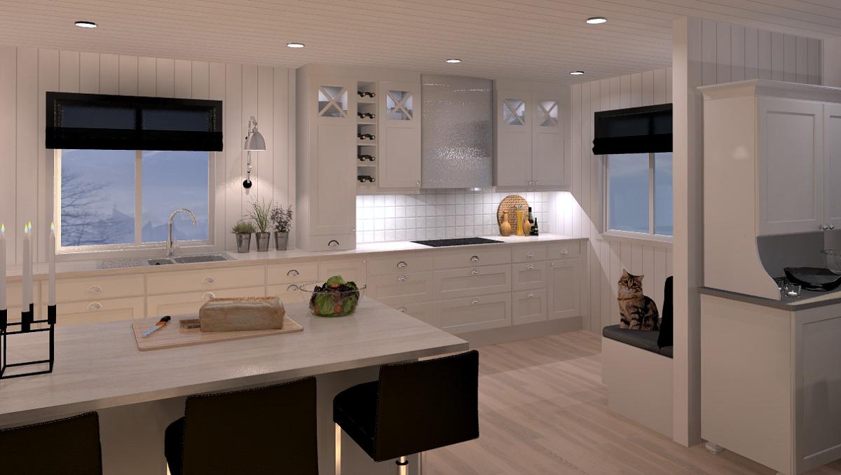 Skjule rør på kjøkkenet i skap