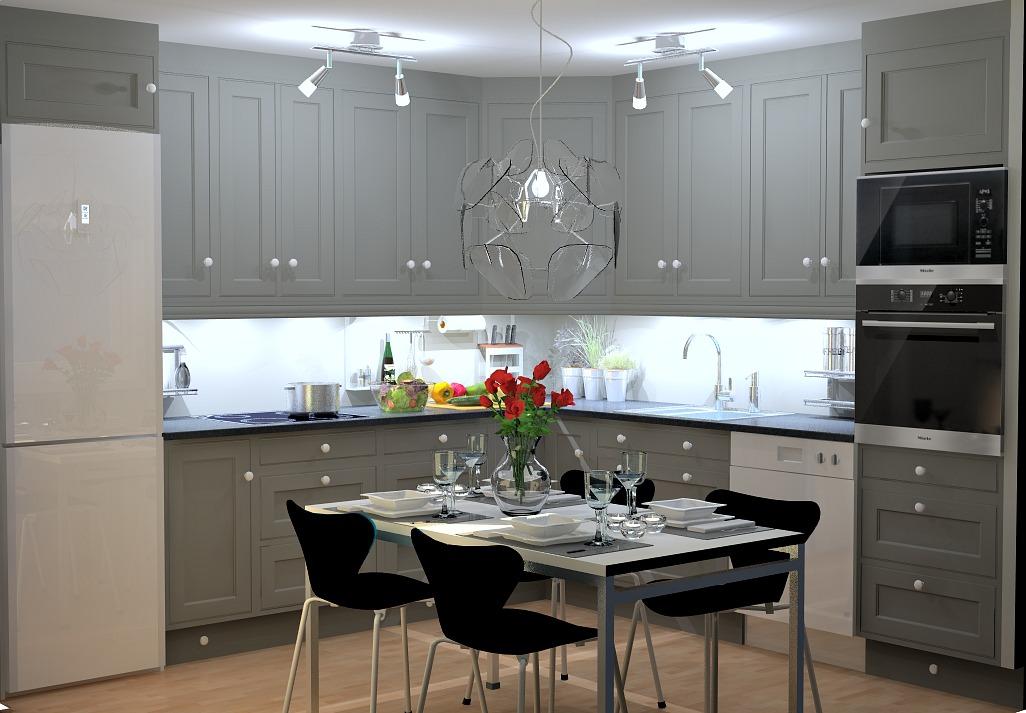 Kjøkkenet med nye fronter etter en kjøkkenfornyelse