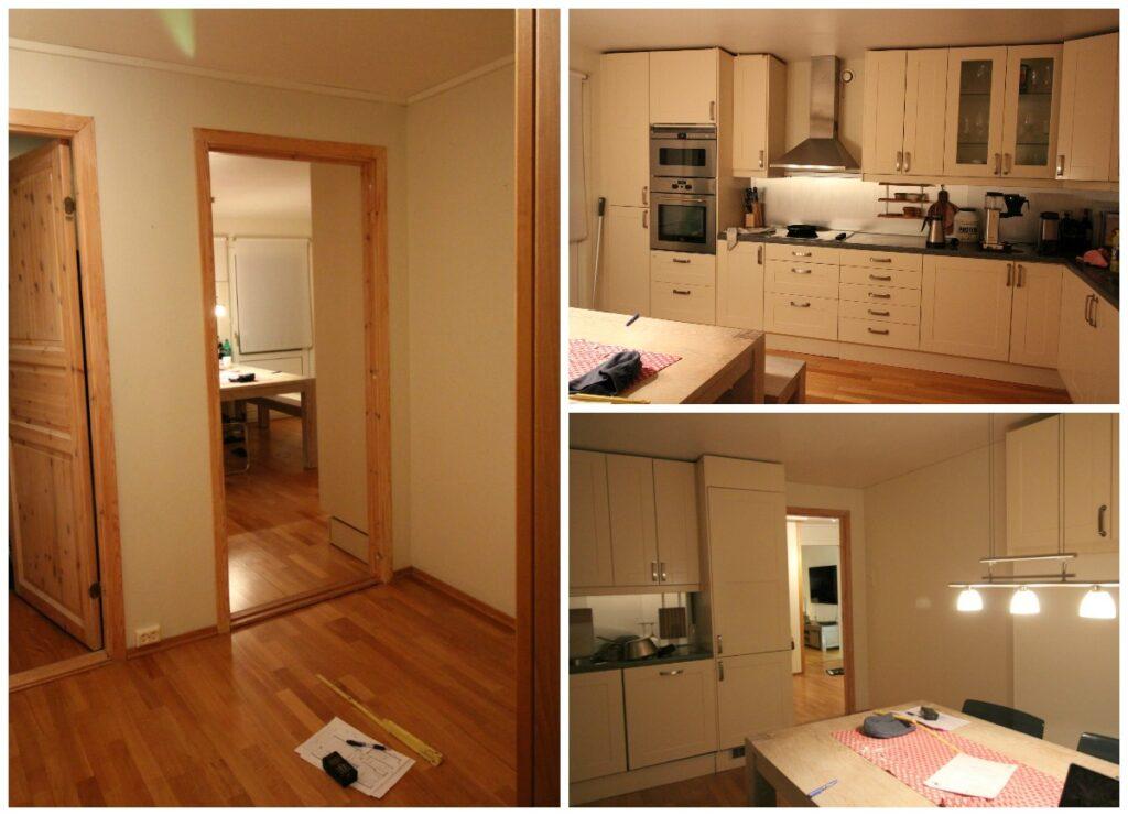 Kjøkkenet fra ulike vinkler før veggendring