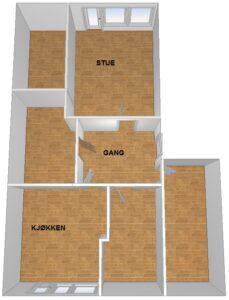 Plantegning av leiligheten før oppussing