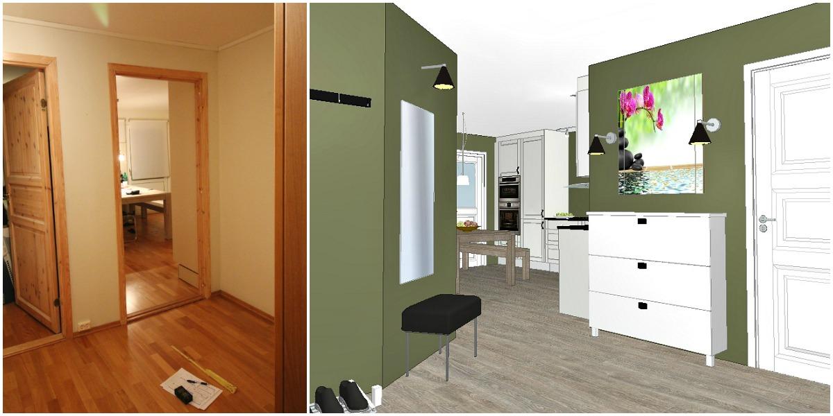 Kjøkkenet sett fra inngang før og etter