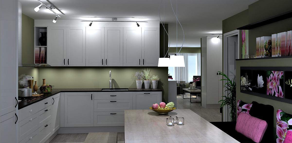 Forslag veggendringer mellom kjøkken og stue