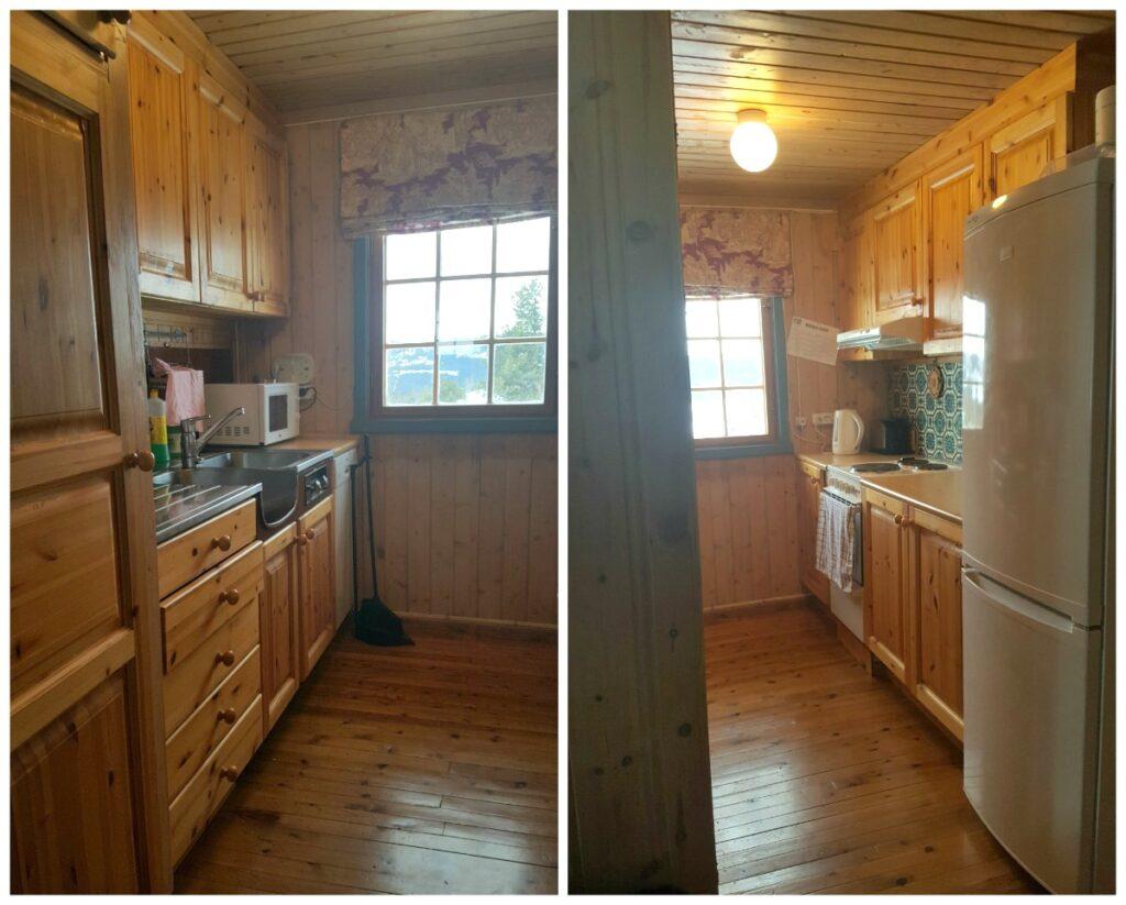 Det trange hyttekjøkkenet før oppussing