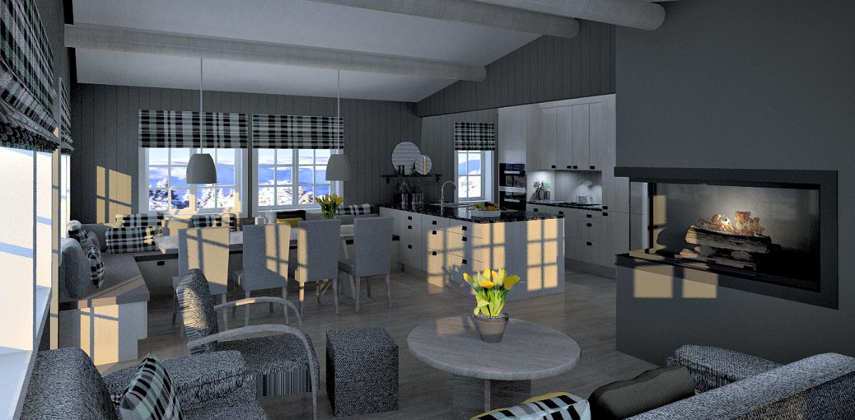 Forslag til veggendring og oppsussing hyttekjøkken