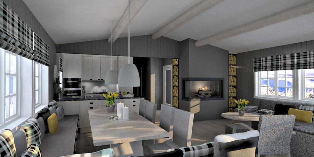 Veggendring mellom stue og hyttekjøkken gir luftigere hytte