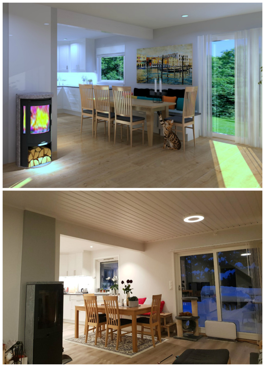 Bildene viser hvordan rommet ble etter veggendring og etter i virkeligheten
