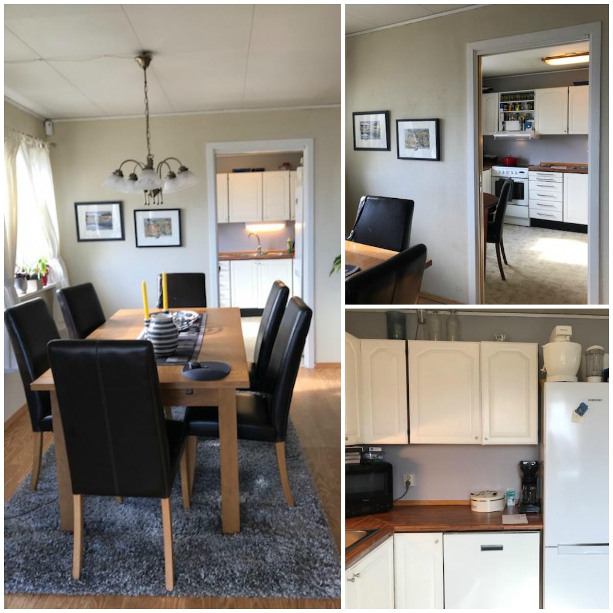 Kjøkken og stue før veggen tas ned