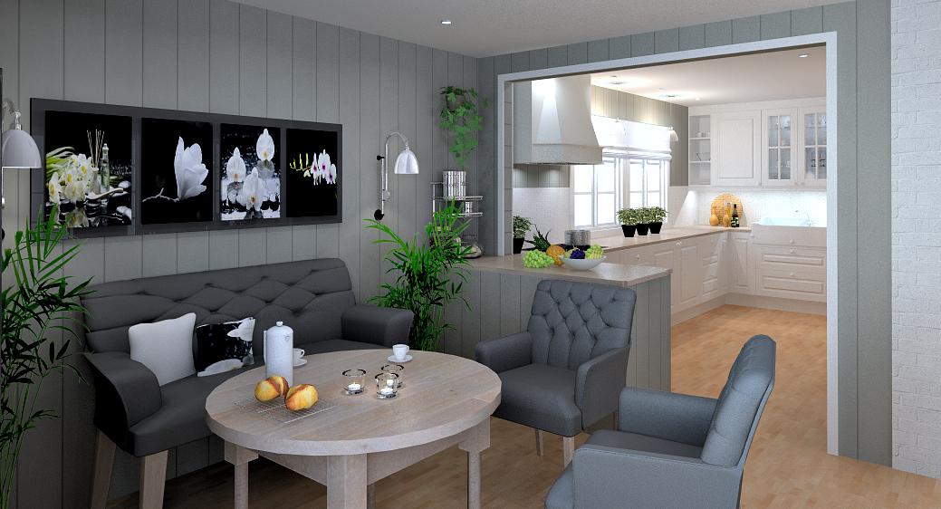 forslaget etter veggendring mellom kjøkken og stue