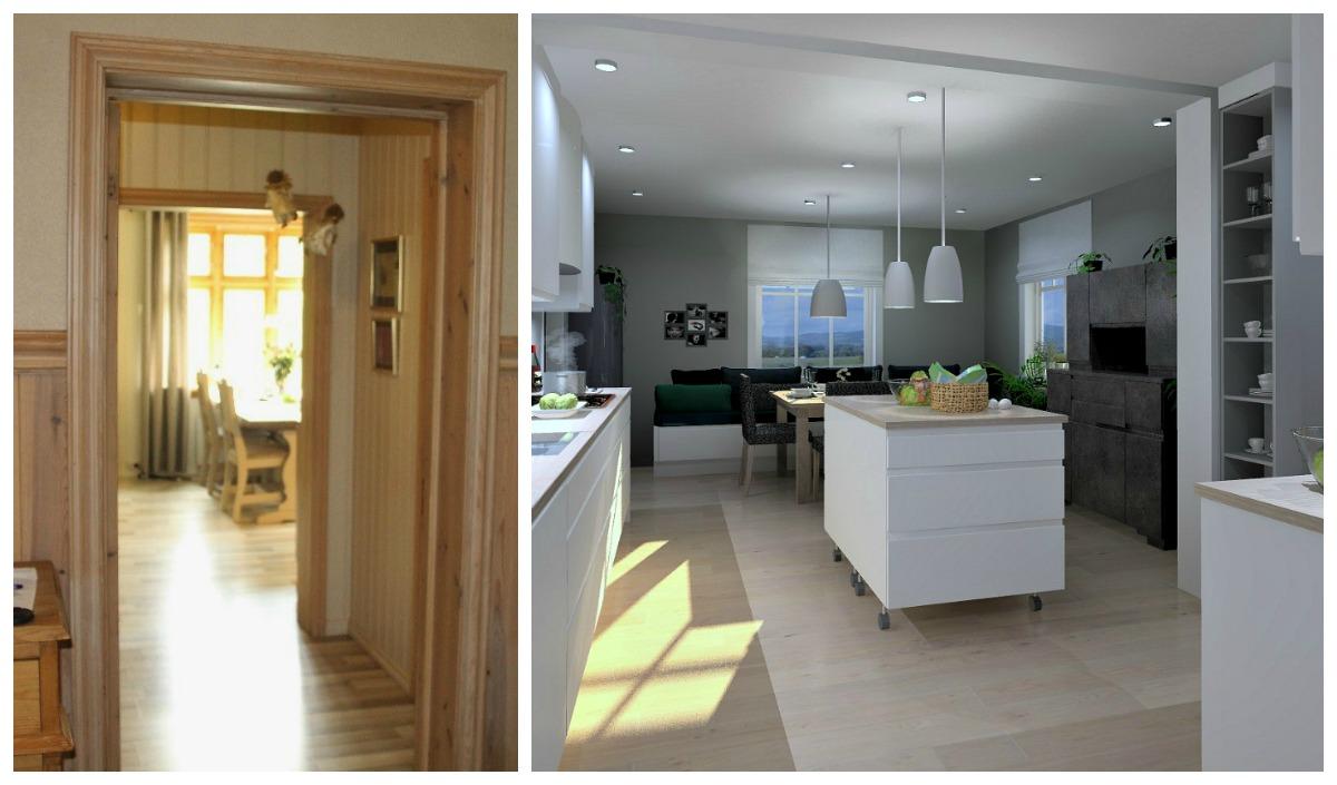 kjøkkenet sett fra gangen før og forslag etter veggendring