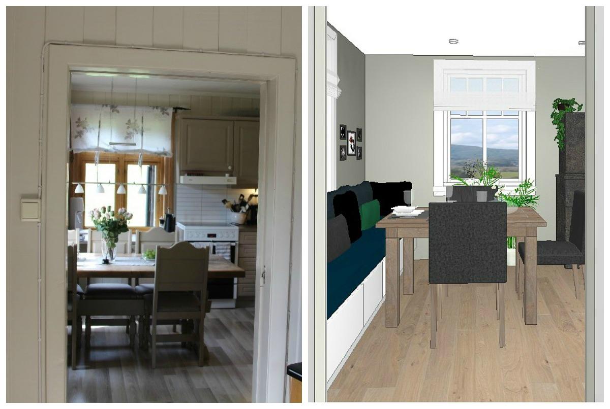 Kjøkkenet fra stuen før og etter oppussing