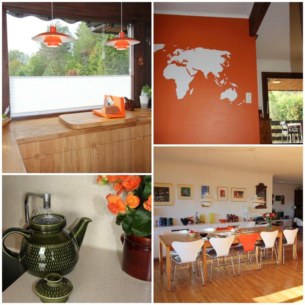 helthet med orange detaljer i huset