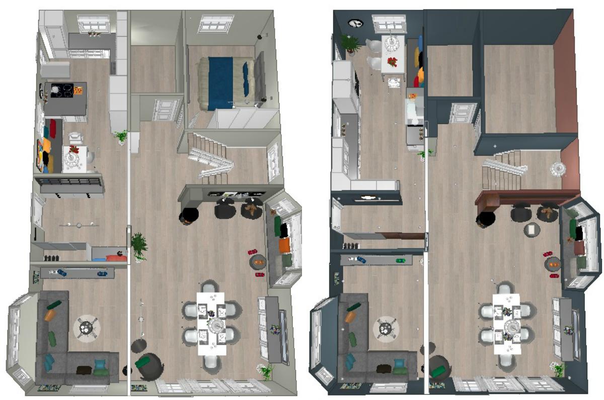 to ulike planløsninger for huset