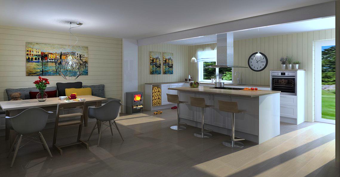 Kjøkkenet blir stort og fint etter veggendring