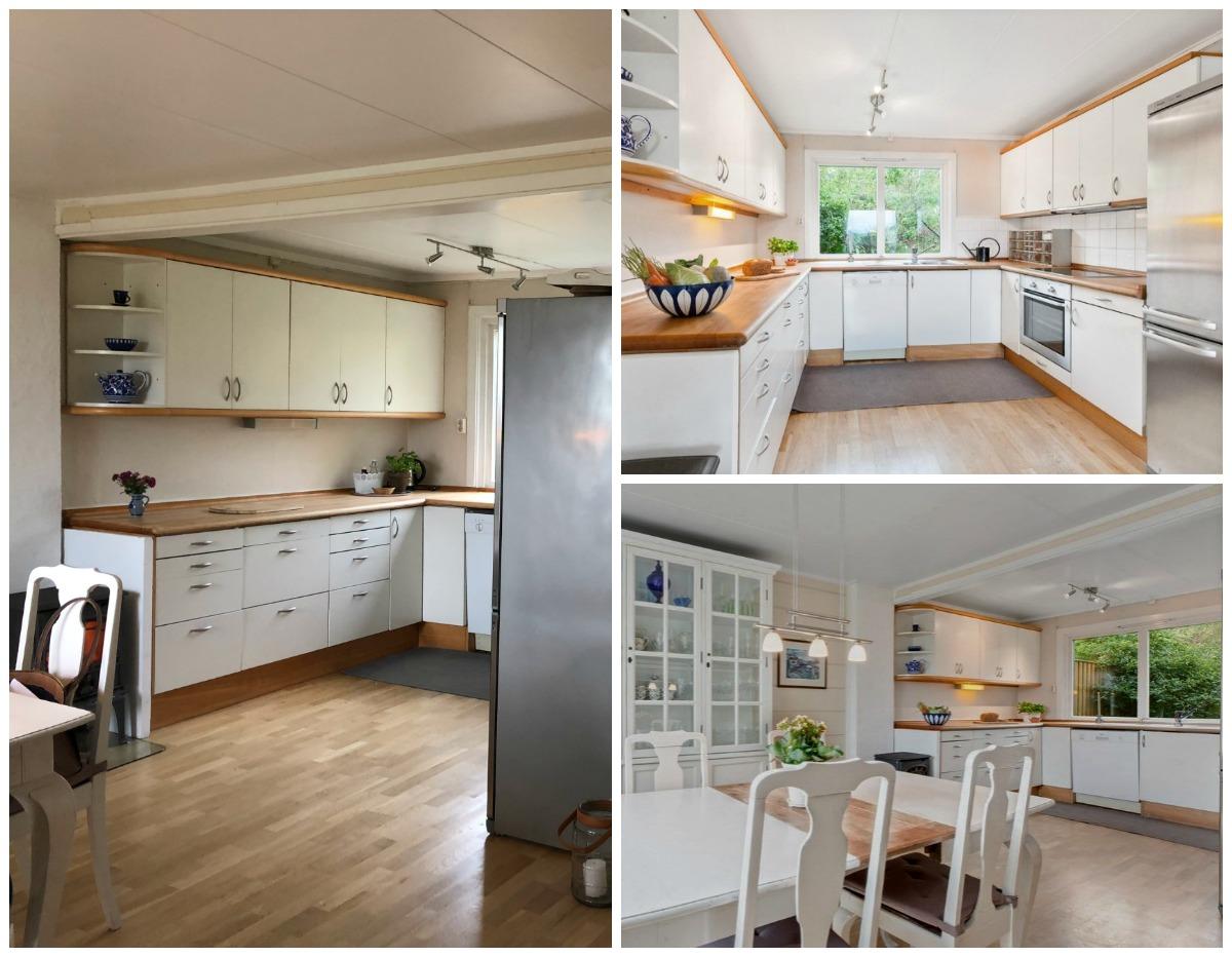 Kjøkkenet før soverommet ble innlemmet i kjøkkenet