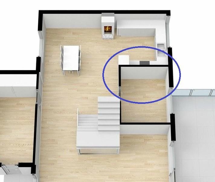 Plantegningen viser soverommet som ønskes innlemmet i kjøkkenet