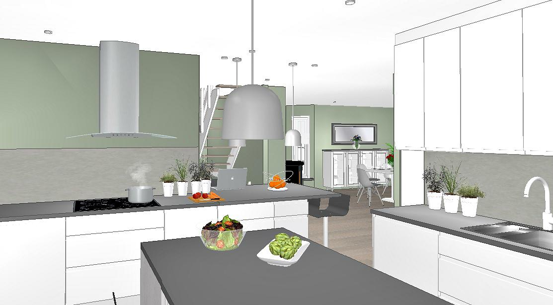 Kjøkkenet etter veggerdring mot stue