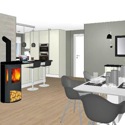 Skjenk og TV benk laget av kjøkkenskap