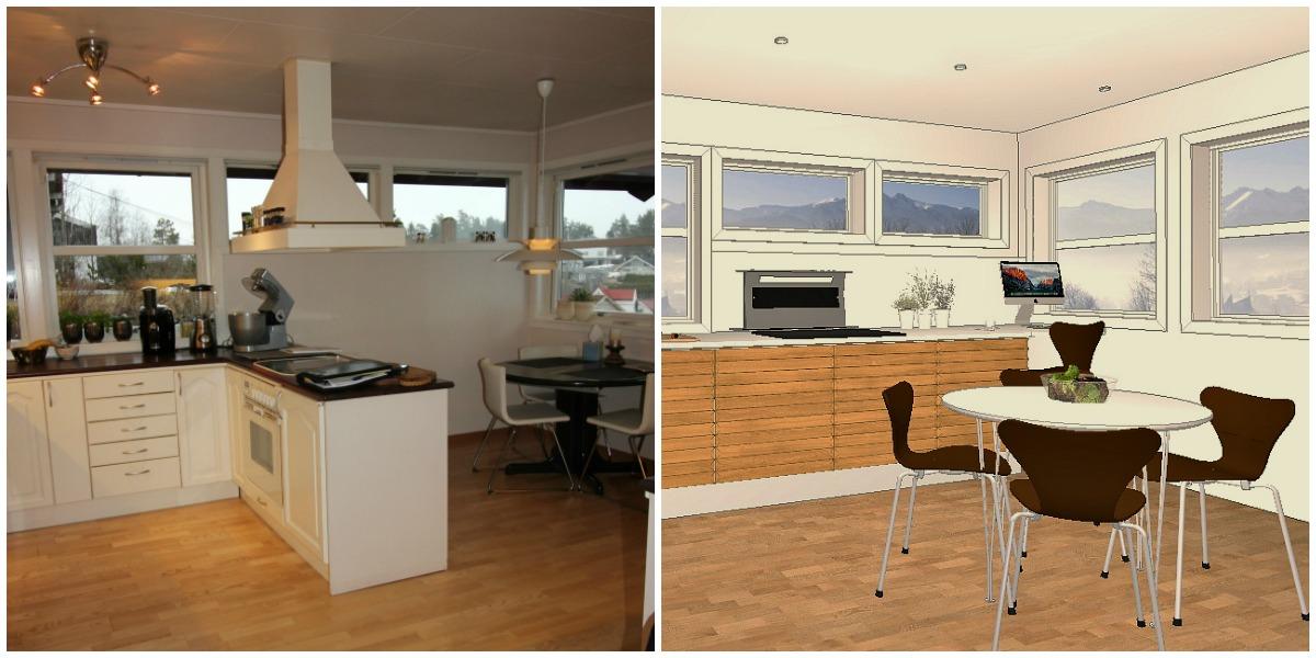Før oppussing og planen for kjøkkenet med benkeventilator foran vindu