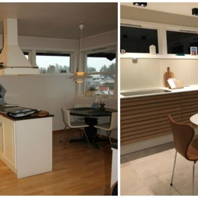 Før og etter oppussing av kjøkkenet