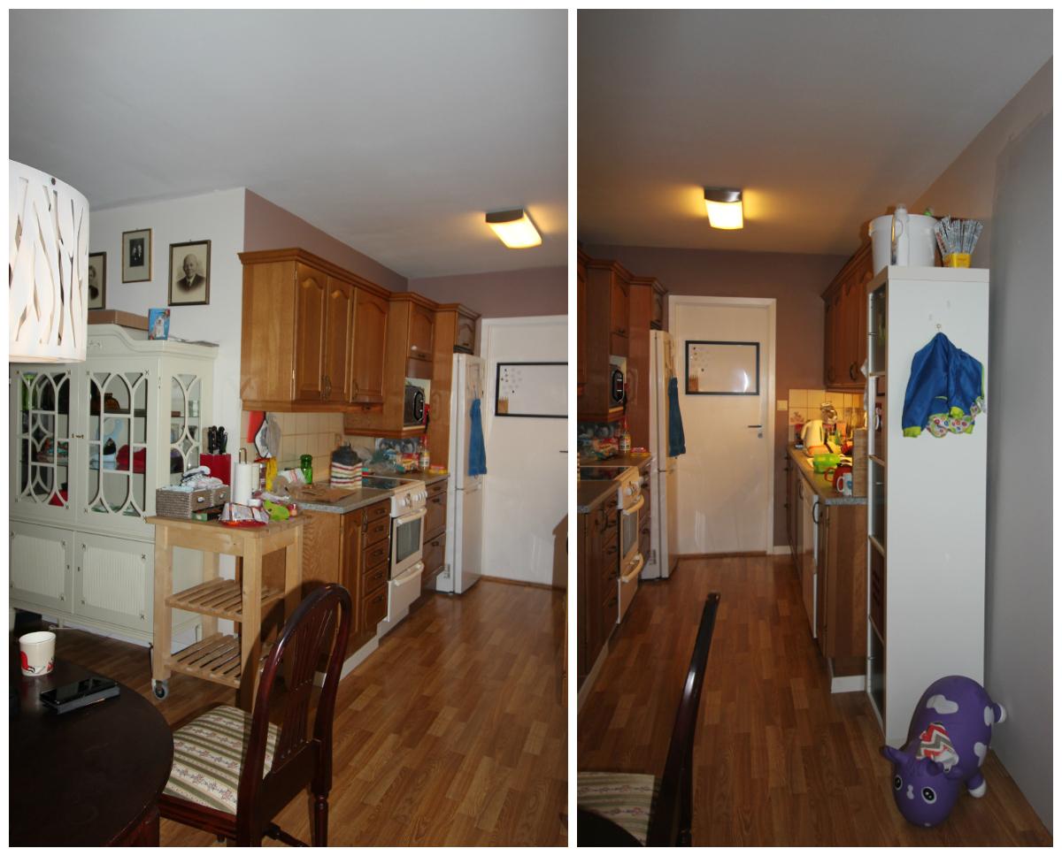 Kjøkkenet sett fra spisestuen før oppussing
