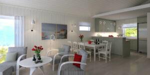 Grønt kjøkken hytte