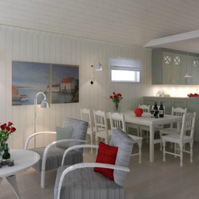 Nytt hyttekjøkken i nydelig grønnfarge