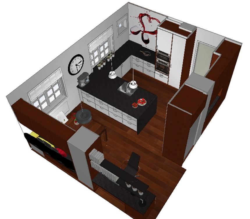 Benkeventilatoren passer fint på kjøkkenet etter veggen revet
