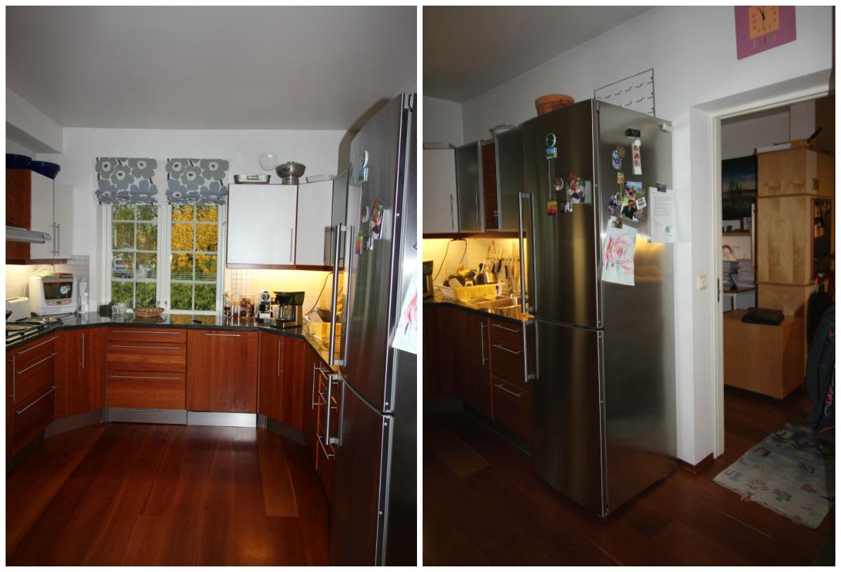 Kjøkkenet og kontoret før veggen ble revet