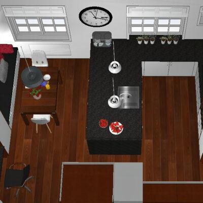 Veggen ønskes revet mellom kjøkken og kontor