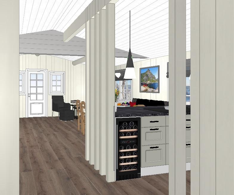 Kjøkken og stue sett fra gangdøren