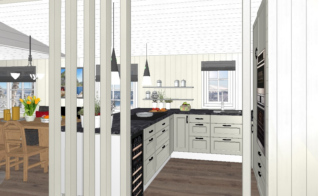 nytt kjøkken på hytta sett fra gangen