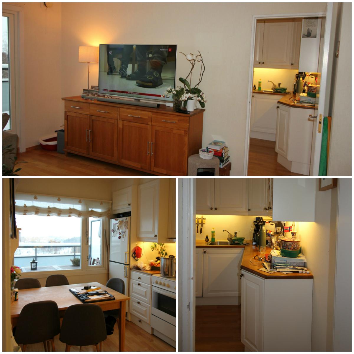 Kjøkkenet før veggen endres