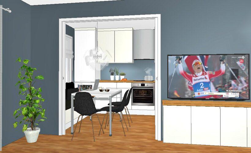 veggen åpnes mellom kjøkken og stue