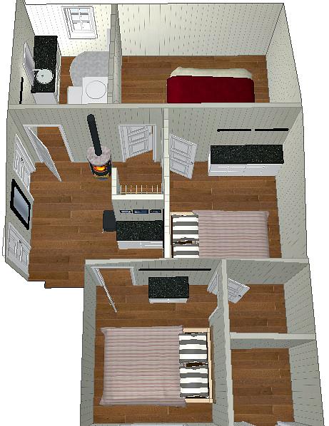 Praktiske soverom gir et praktisk hyttekjøkken også