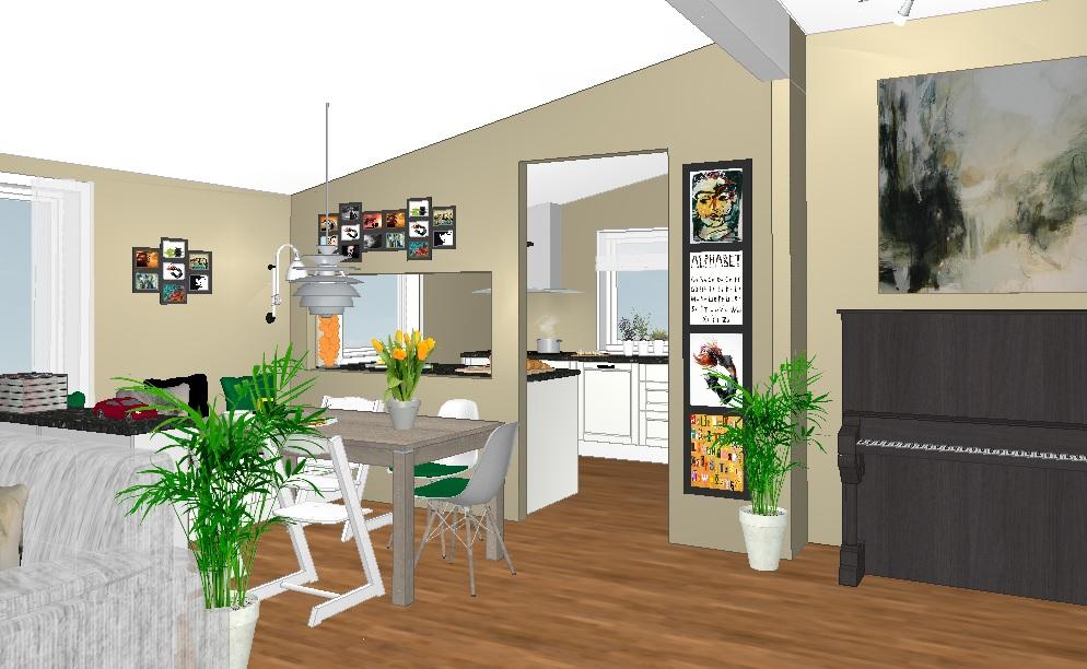 Forslag B med åpning inn mot kjøkkenet