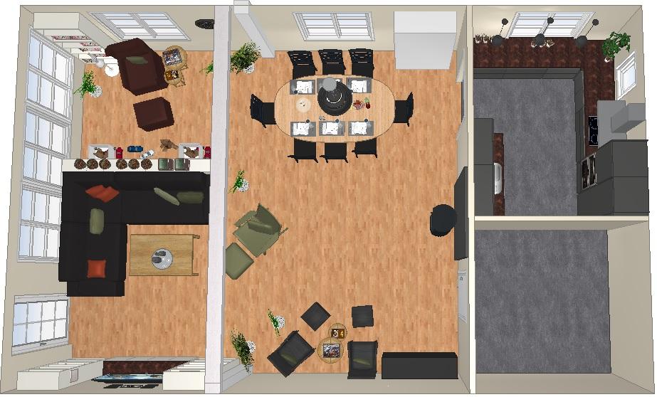 Plan for nytt kjøkken og ommøblering stue