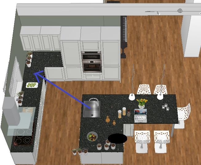 Rive vegg mellom kjøkken og stue samt flytte vasken