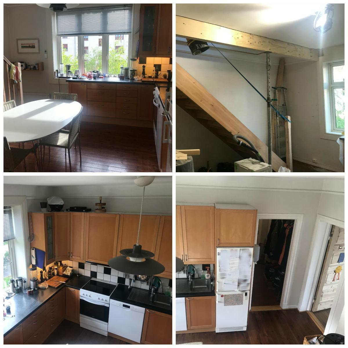 Kjøkkenet med trapp som må utnyttes bedre